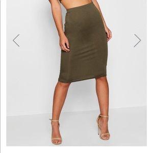 Boohoo April petite basic midi khaki skirt new